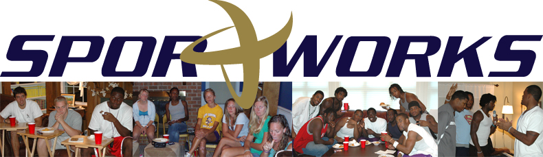 Sportworks banner of young adults socializing